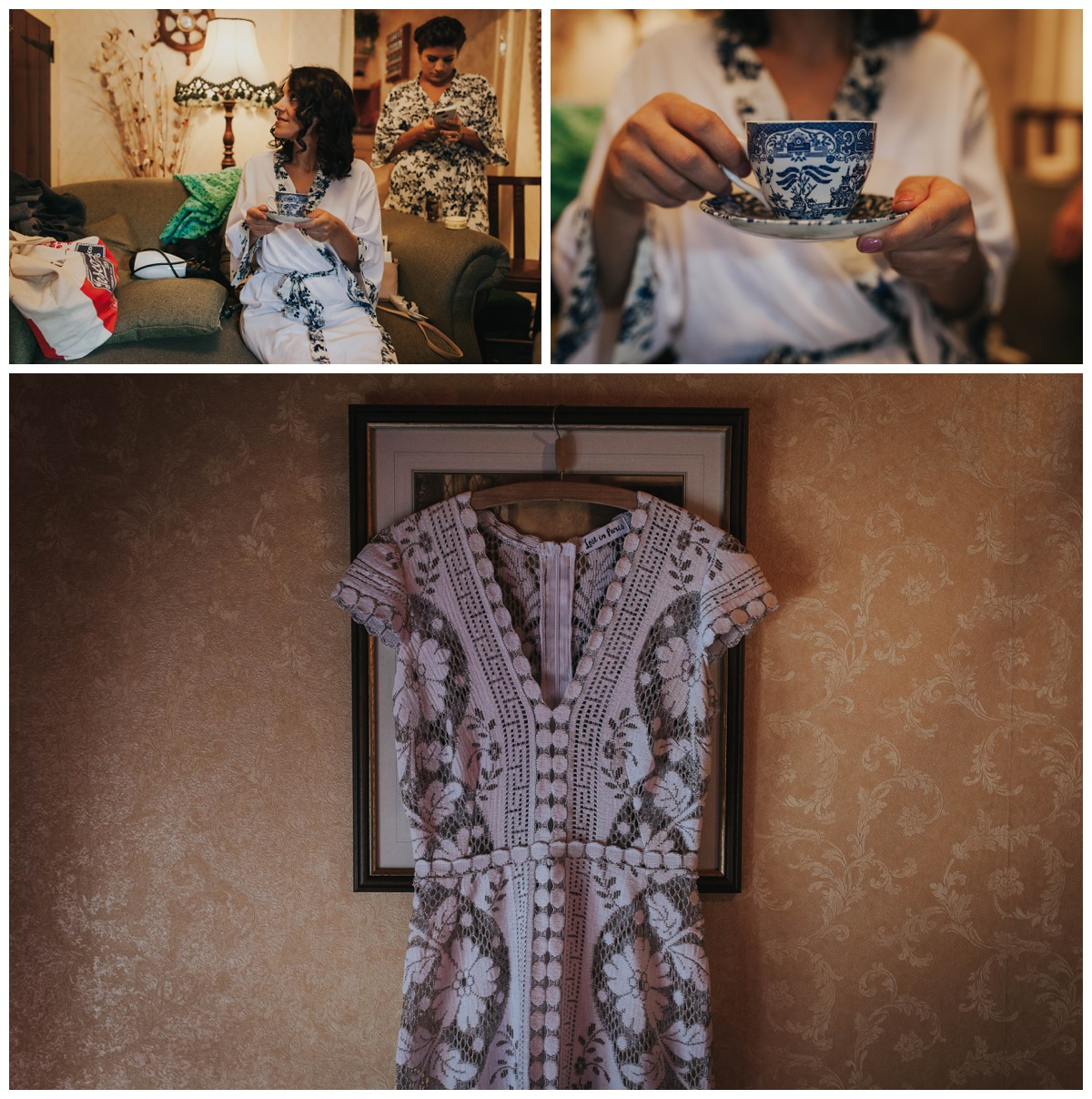 Wedding prep photos and wedding dress