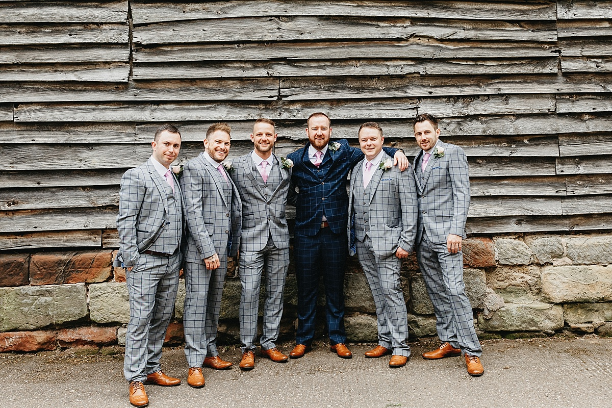 Groomsmen in checked suits