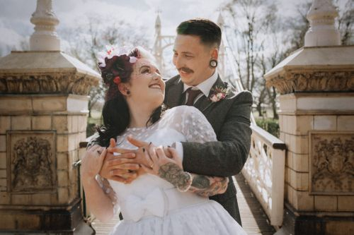 Rockabilly bride and groom Shropshire